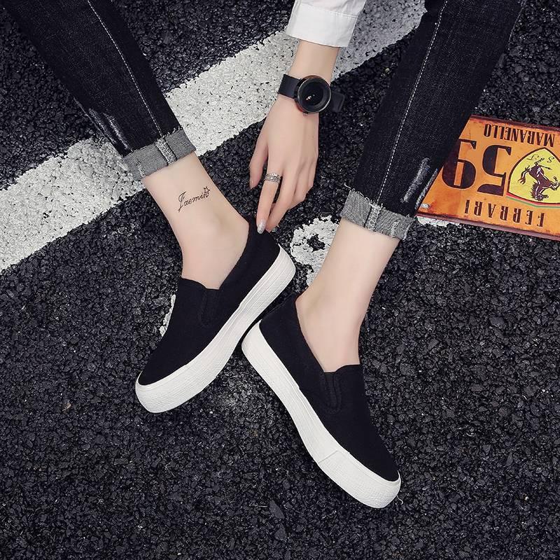 รองเท้าคัชชู รองเท้าผู้หญิง ❇2020 ฤดูใบไม้ผลิสีดำ laofu รองเท้าหญิงรองเท้าเหยียบรองเท้าผู้หญิงป่าเกาหลีรองเท้าผ้าใบนักเร
