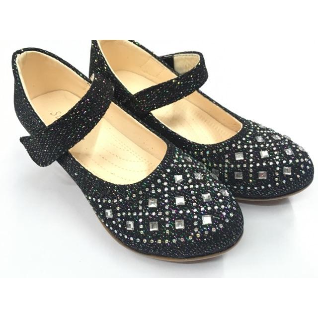 👸รองเท้าคัชชูเด็กผู้หญิง รองเท้าออกงานเด็กผู้หญิง  สีดำ ไซส์ 31-36