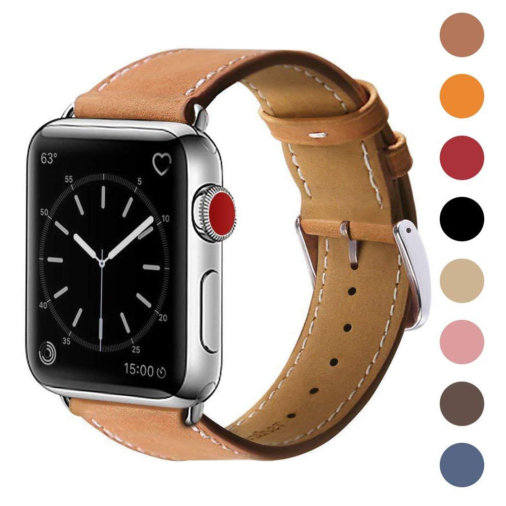 สายนาฬิกาข้อมือหนังแท้ 42 มม 44 มมสําหรับ Apple Watch Series 5 4 (44 มม) Series 3