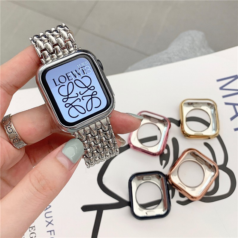 Watch Case Ultra-thin Plated Watch Case for Apple Series 3 2 1 42 38MM TPU Cover for IWatch Se 6 5 4 44 40MM