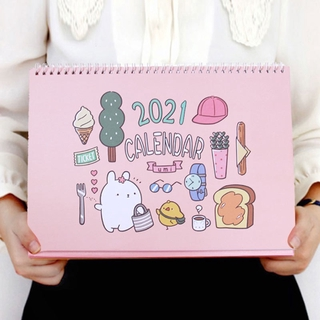 【ปฏิทินตั้งโต๊ะ】2020 Lunar Calendar 2021 Creative Simple Office Desktop Cartoon Girl Heart Small Desk <