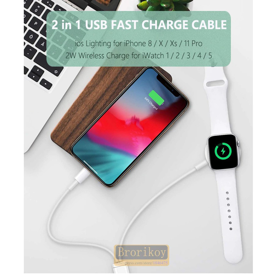 สายชาร์จแม่เหล็ก 2 W สำหรับ Apple Watch iWatch Series 1234 5 USB Phone