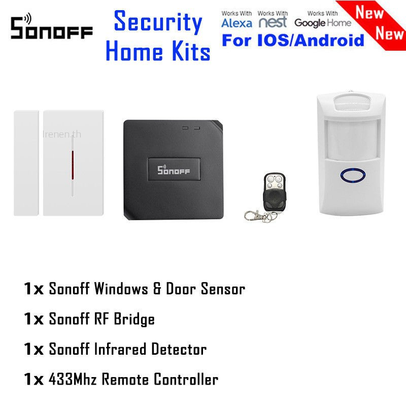 ?Irenen?Sonoff RF Bridge 433 PIR Wireless Sensor+DW1 Door Window Alarm  Security System