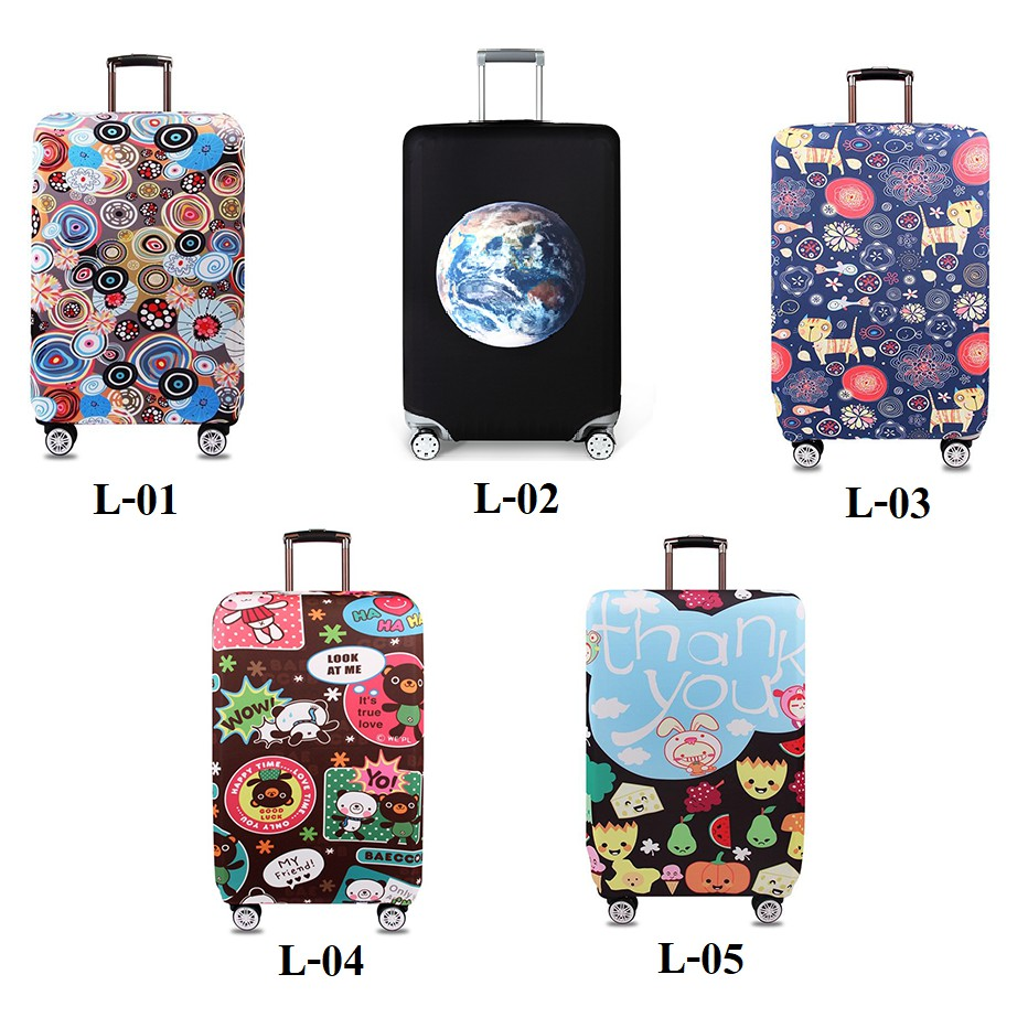 Luggage Cover ผ้าคลุมกระเป๋าเดินทาง Size L 25-28นิ้วป้องกันรอยและถนอมกระเป๋าผ้าหนายืดหยุ่นทนทาน