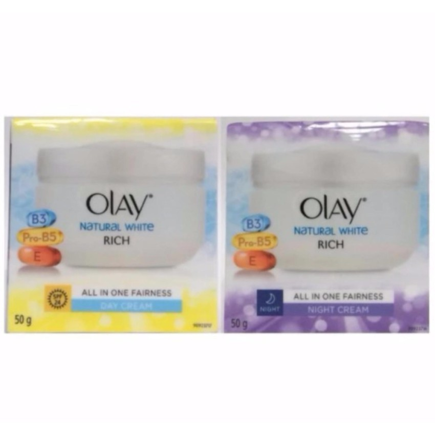 OLAY Natural White All In One Fairness Day Cream SPF24 + Night Cream | Shopee Thailand