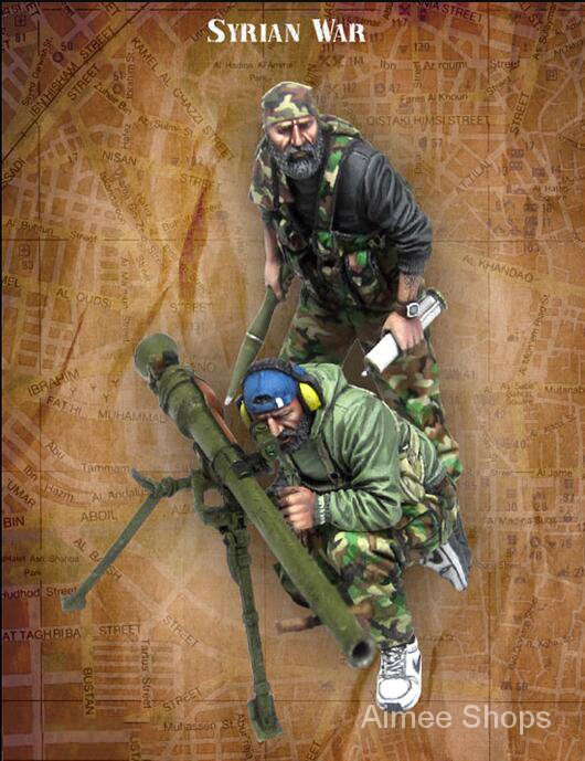 Unpainted Kit 1/35   Syrian war include 2 soldiers   Resin Figure miniature garage kit AFYi