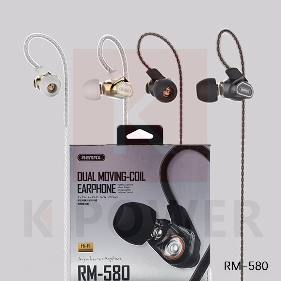 Remax RM-580 หูฟัง Small talk Double Moving - Coil Earphone Earphone