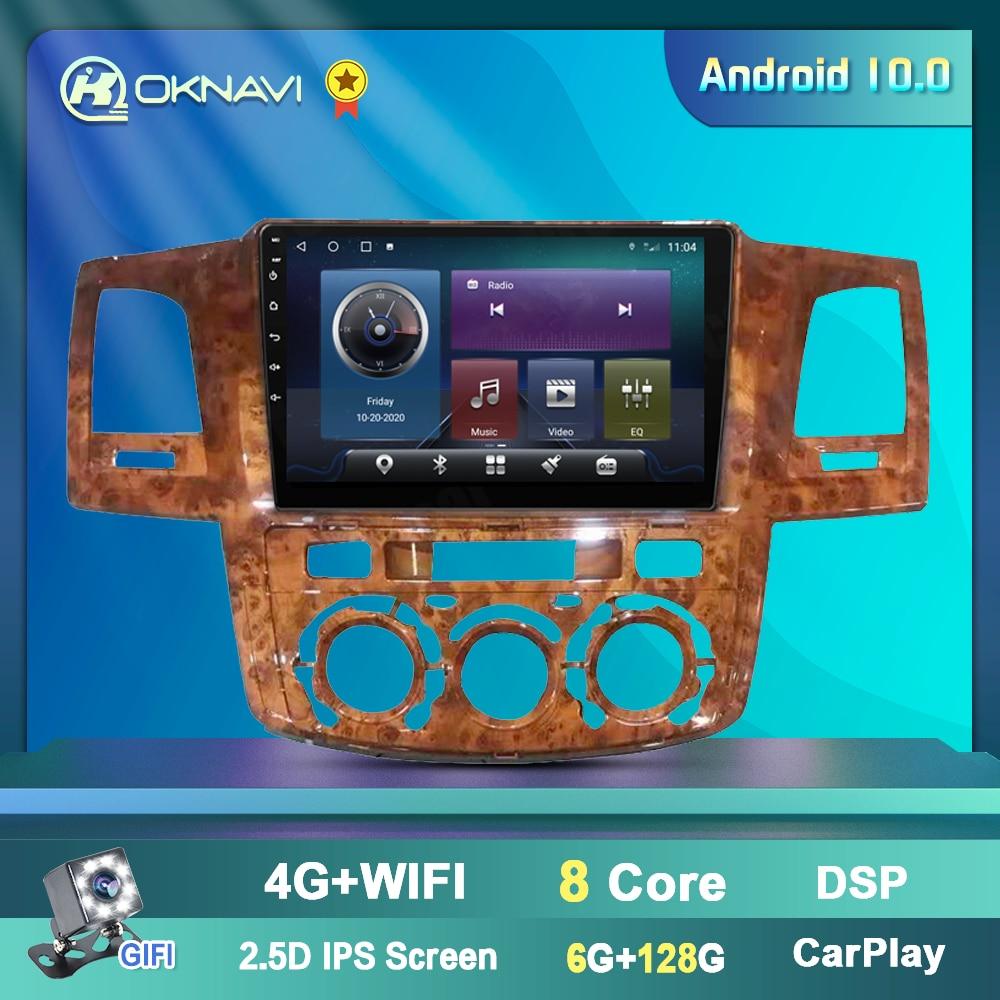 For Toyota Fortuner HILUX Revo Vigo Android 10 2 din Stereo Car Radio 2004-2014 Mahogany Frame Multimedia Player GPS Nav
