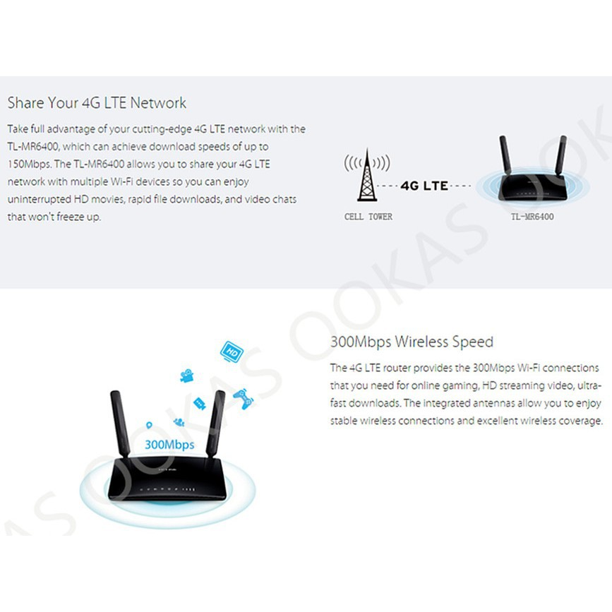 TP-LINK TL-MR6400 300Mbps 4G LTE Wireless WiFi Modem Router For DIGI Umobile