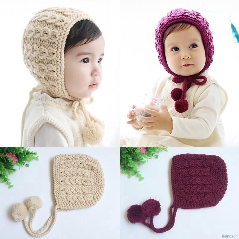 Infant Baby Kid Beanie Girl Cap Cotton Knitted Ball Warm Earmuffs Children Hats