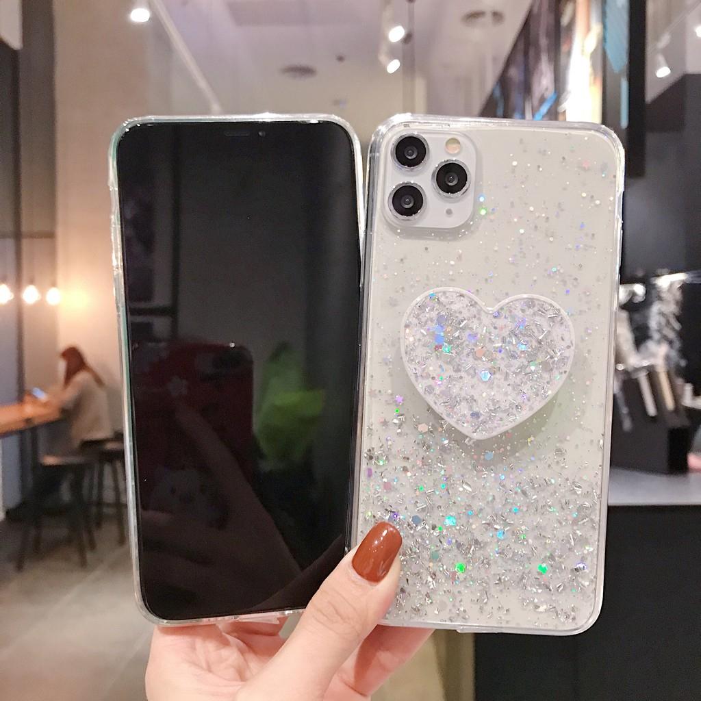 Glitter Soft Case + Love Heart Mirror Bracket Samsung A7 2018 A750 A8 Plus 2018 A6 A6 Plus A9 2018 A9 Star Pro A9S A2 Core