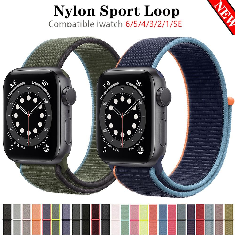 สายนาฬิกาข้อมือไนล่อนสําหรับ Apple Watch Band Series 6 5 4 Se 40 มม . 44 มม .
