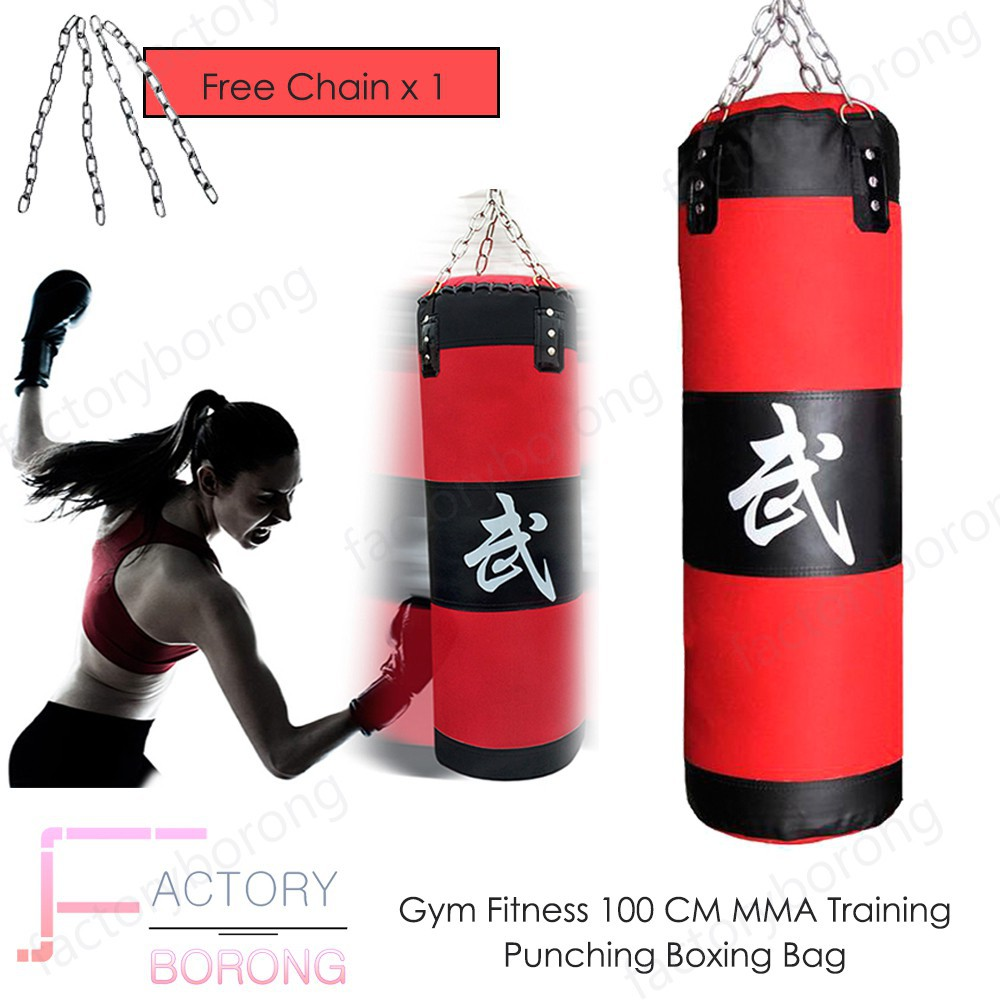 Pro 100cm MMA Boxing Heavy Punching Training Practice Sand Bag Empty With Chain