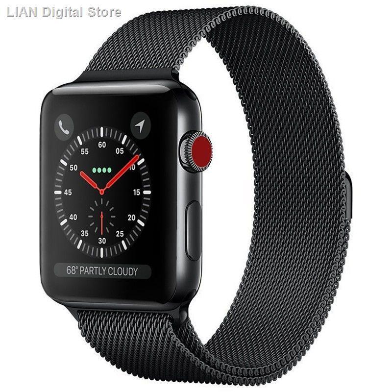 【อุปกรณ์เสริมของ applewatch】✻✎สาย Apple Watch 3 Applewatch สแตนเลสสตีล iwatch ห่วงสายรัดหัวเข็มขัดแม่เหล็ก