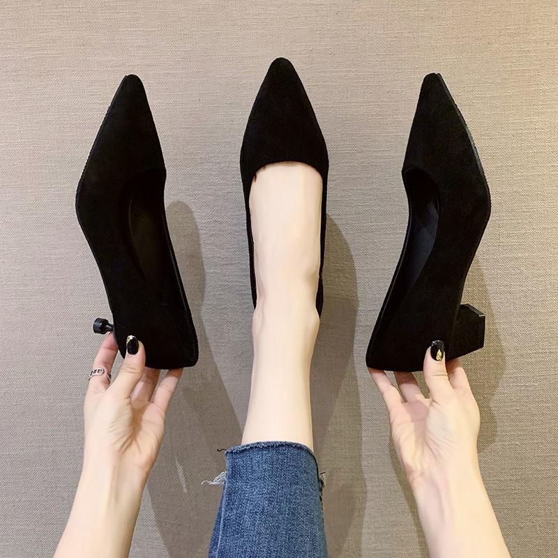 รองเท้าหัวแหลม รองเท้าผู้หญิง รองเท้าแฟชั่น ส้นสูง🌸รองเท้าคัชชูเปิดส้น