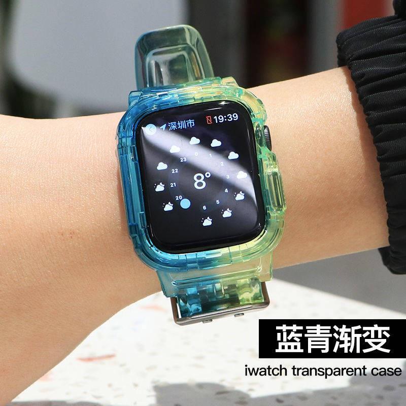 ☸เหมาะสำหรับ Applewatch ซิลิโคนใสในตัวสายรัด Apple Watch iwatch1 / 2 / 345se6☟