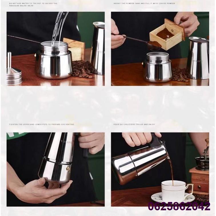 ♕หม้อกาแฟ หม้อต้มกาแฟสด เครื่องชงกาแฟเอสเพรสโซ่ มอคค่า กาต้มกาแฟสด เครื่องชงกาแฟสด เครื่องทำกาแฟ แบบปิคนิคพกพา สแตนเลส 3