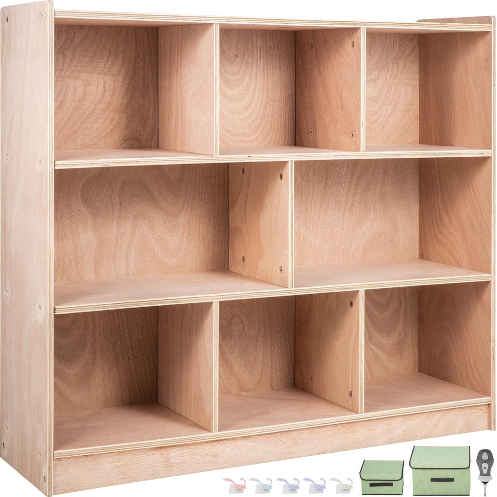ชั้นวางของในครัว:VEVOR Classroom Storage Cabinet School Storage Shelves 8Section Cubbys Wooden Books Toys Shelves 36 Inc