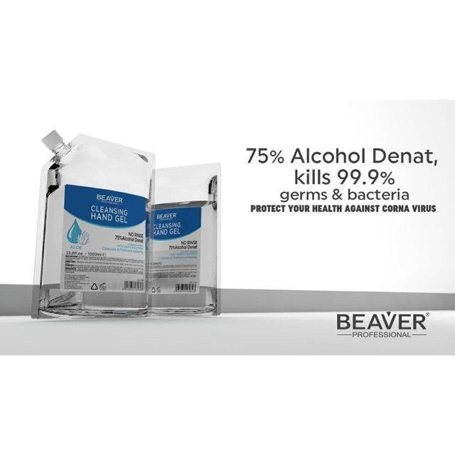 Beaver Cleansing Hand gel 1000ML แอลกอฮอล์เจล เจลล้างมือ ถุงสำหรับเติม หรือรีฟิว Alcohol gel