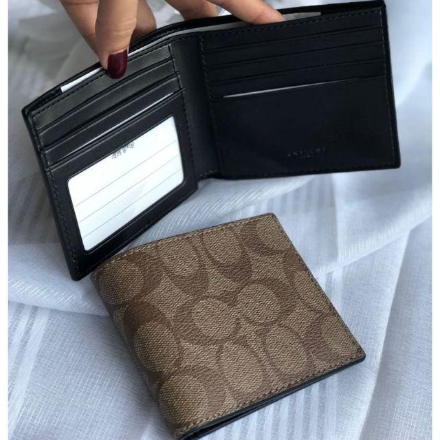 กระเป๋าสตางค์ใบสั้น สีน้ำตาลมะฮอกกานี COMPACT ID WALLET IN SIGNATURE (COACH #F74993) MAHOGANY/BROWN