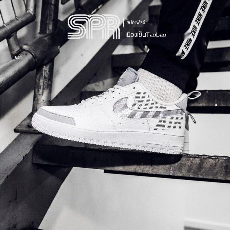 Nike Air force1 AF1 Air Force 1รองเท้าผู้ชายสะท้อนแสงสีขาวbq4421