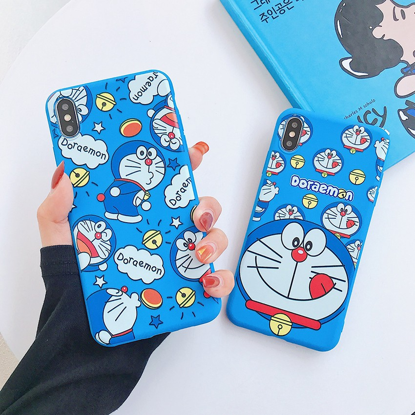 เคส Samsung A71 A51 A70 A50 A50s A30 A30s A20 A20s A10 A10s A9 A7 A6 A6+ J8 J7 J6 J6+ J5 J4 J4+ J2 Prime Pro Plus 2018 Cartoon Cute Doraemon Soft Blue Case Cover
