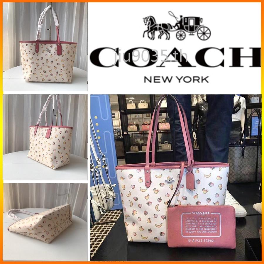 COACH  F72901   กระเป๋าผ้า / กระเป๋าช้อปปิ้ง / ลายผลไม้
