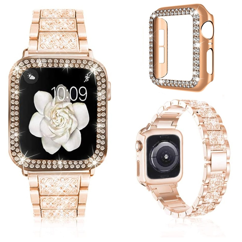 For Apple Watch Bands 38mm 40mm 42mm 44mm Women Glitter Metal Strap & Bling Diamond Protective Case iWatch Series 6 5 4