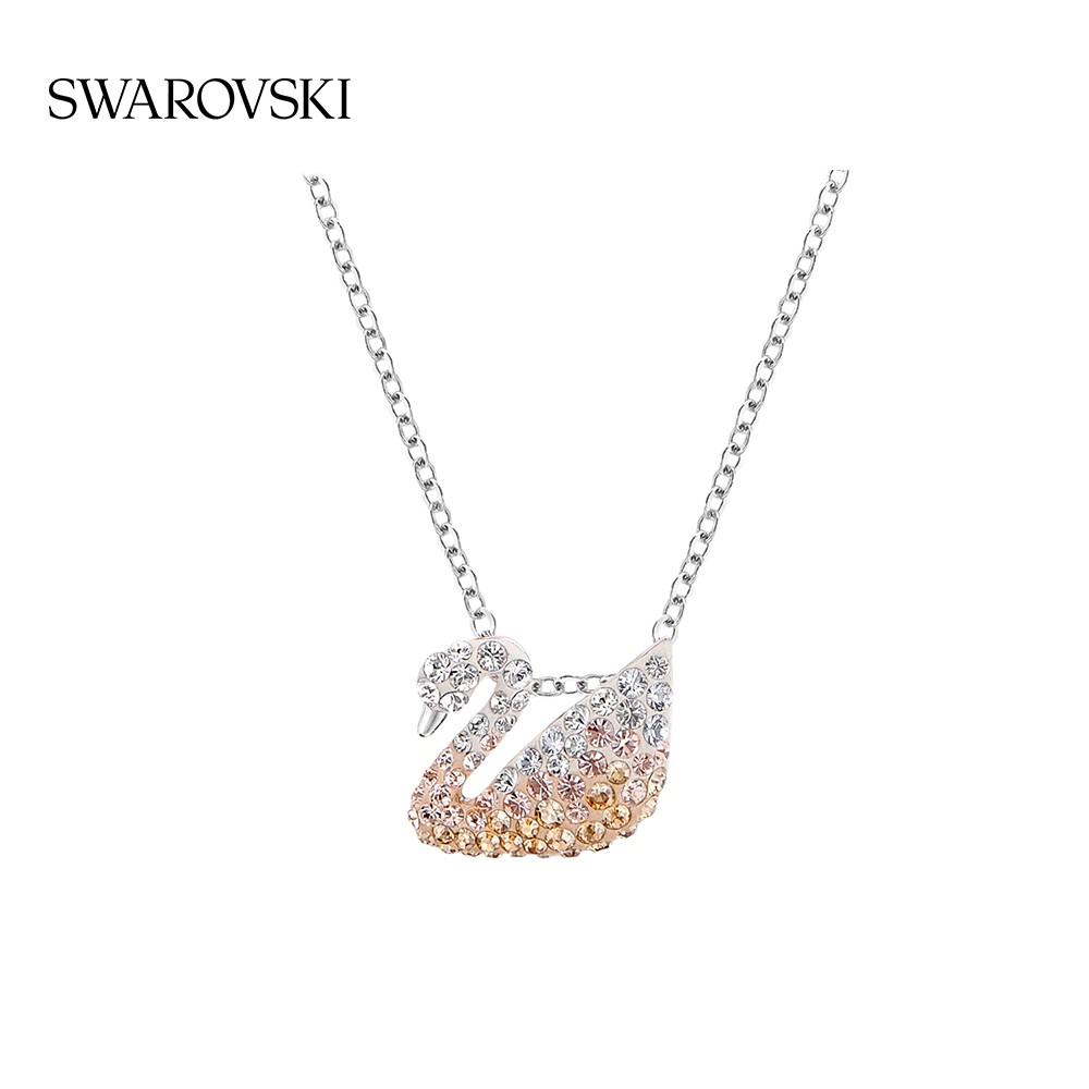 Swarovski ไล่ระดับสีหงส์(เล็กๆน้อยๆ) ICONIC SWAN สร้อยคอผู้หญิงที่เรียบง่ายของขวัญทานาบาตะ IPbS