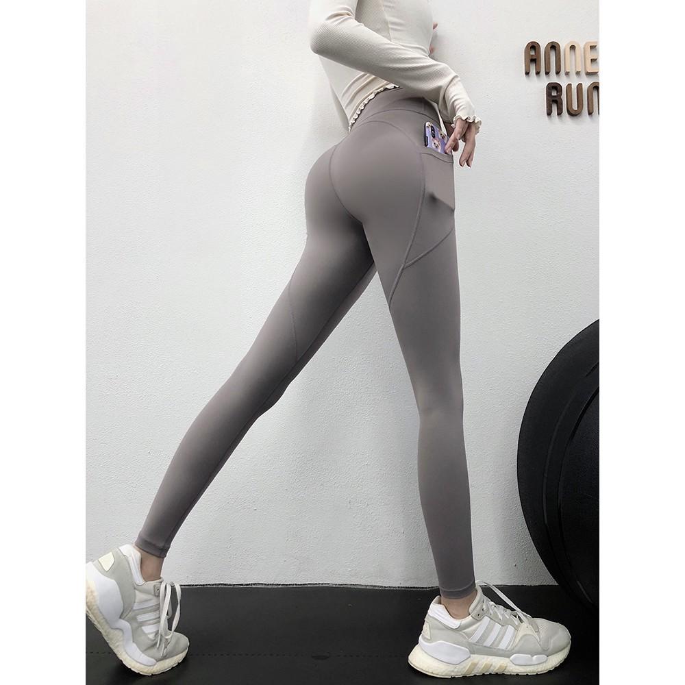 กางเกงออกกำลังกายผู้หญิงยางยืดแห้งเร็วหน้าท้องแน่นกางเกงกีฬาเอวสูงพีชบั้นท้ายโยคะพี