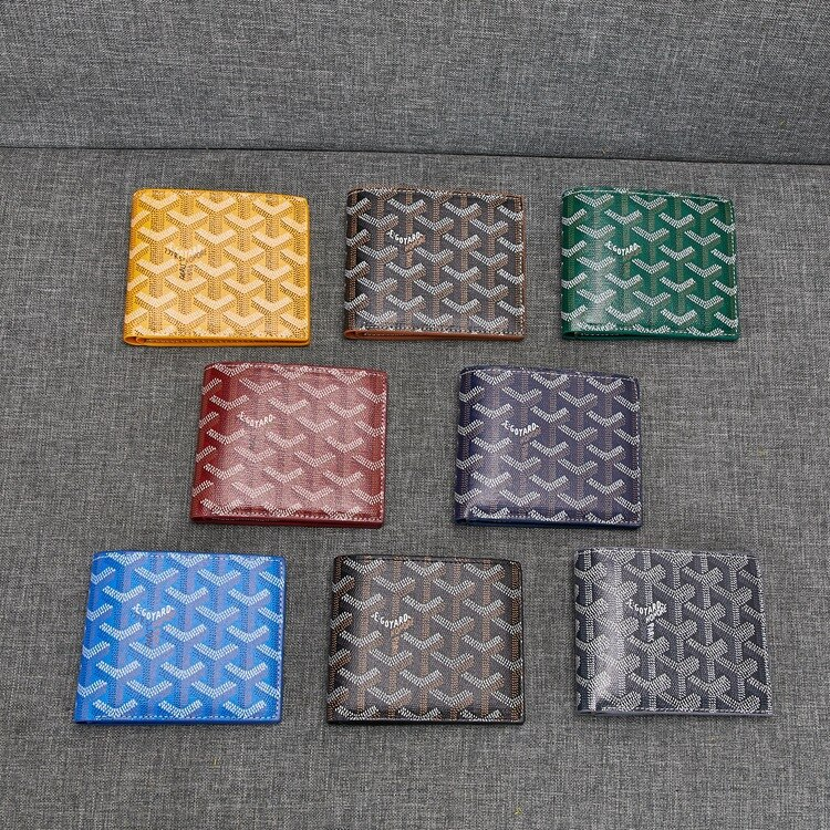 2021 High quality Goyard New Dogtooth Wallet Men's and Women's with leather Short Half Fold Men's Wallet Genuine Leather