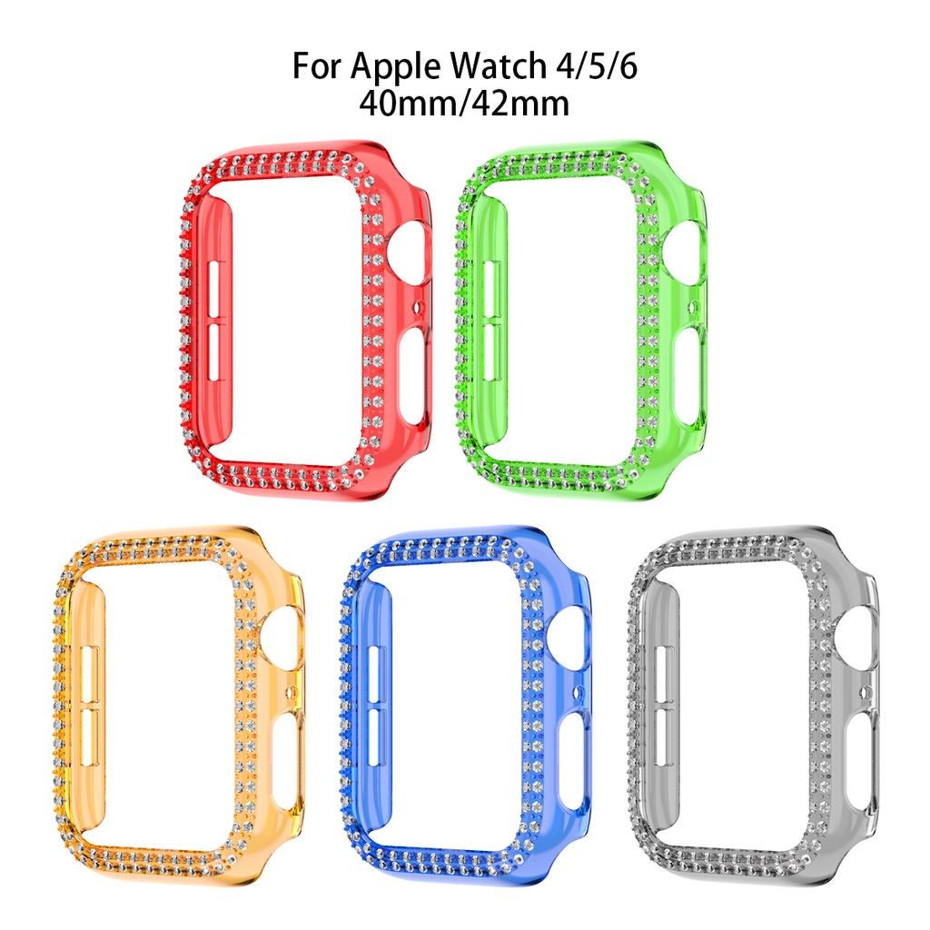 Apple Watch Case, PC Bling Rhinestone สองแถว Apple Watch Protector เคส กรอบกันชนหน้าจอเคสป้องกันสำหรับ IWatch Series 38mm 40mm 42mm 44mm