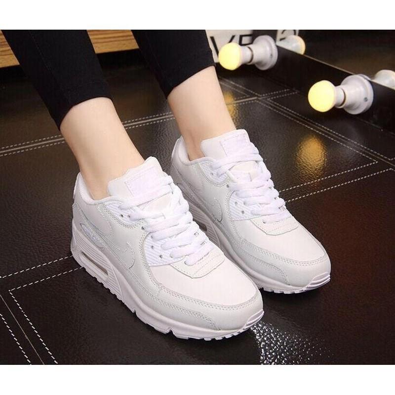 รองเท้าผู้ชาย Nike รองเท้าผู้หญิง Nike Air Max90 ทุกคู่สีดำและสีขาวเพิ่มขึ้นรองเท้าวิ่งกีฬาเบาะอากาศ