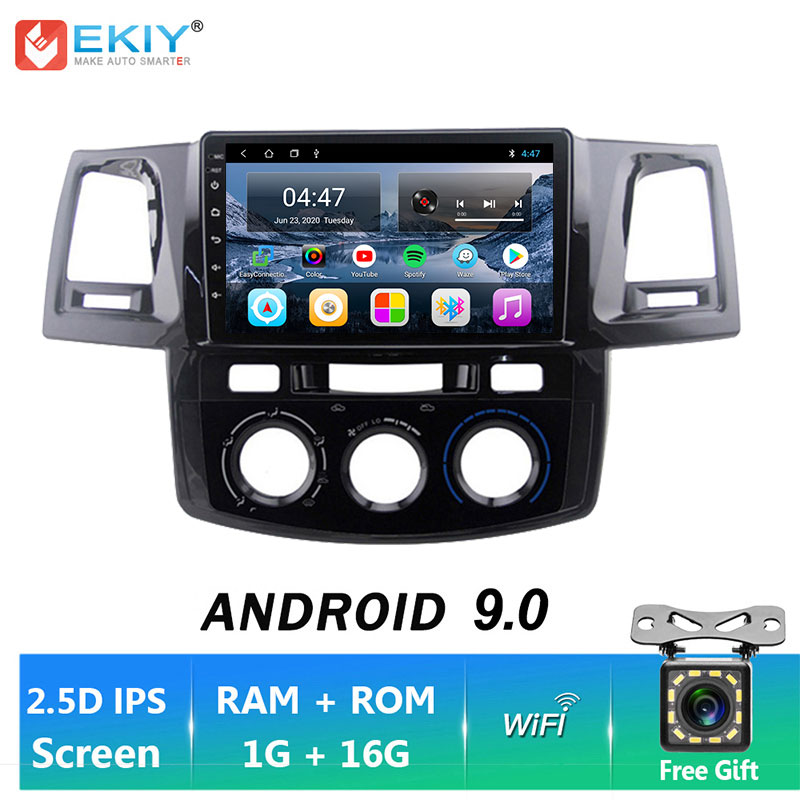 EKIY IPS Android 9.0 2 Din Player For Toyota Fortuner HILUX Revo Vigo 2008-2014 Car Multimedia Video GPS Navigation Ster