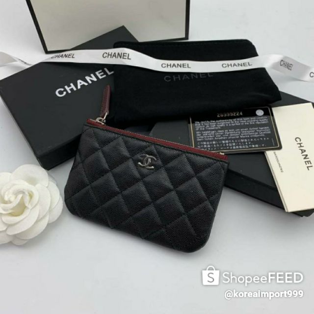 Chanel Zippy Coin Purse Caviar Wallet With Silver Hardware