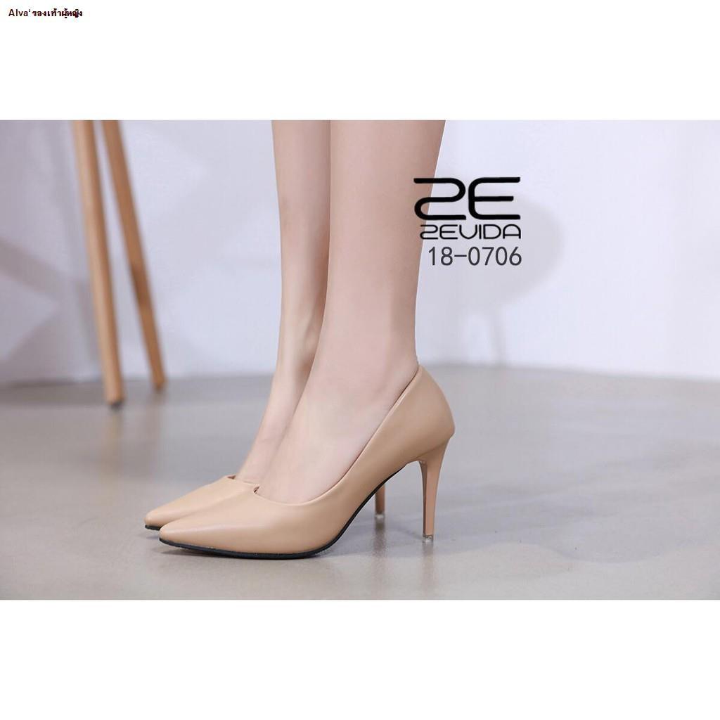 Alva'รองเท้าผู้หญิง--✠รองเท้าคัชชูหัวแหลมส้นสูง Zevida รุ่น 18-0706
