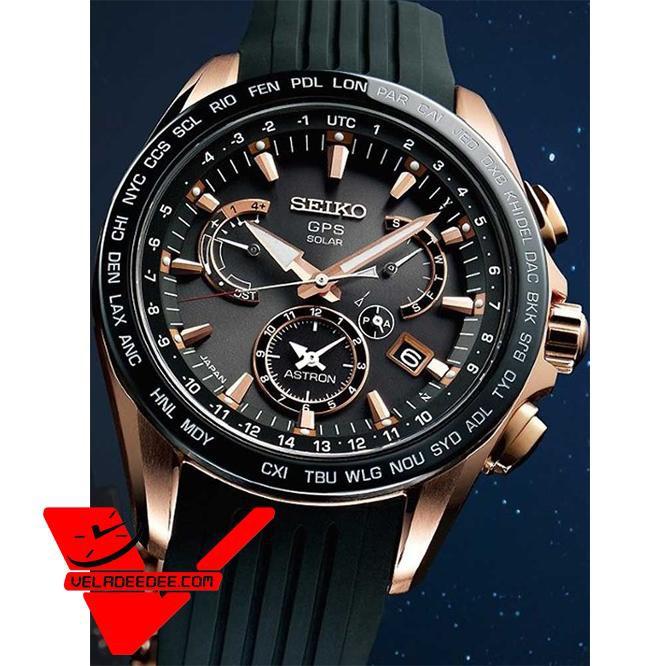 Seiko Astron GPS นาฬิกาข้อมือผู้ชาย Astron GPS Solar World Time Watch รุ่น SSE055J1