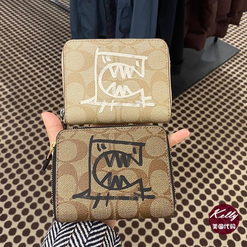 กระเป๋าสตางค์ใบสั้นสหรัฐอเมริกาซื้อCoachCOACH ของสุภาพสตรีใหม่ซิปกระเป๋าสตางค์สั้นตารางกระเป๋าสตางค์ขนาดเล็กกระเป๋าเงินส
