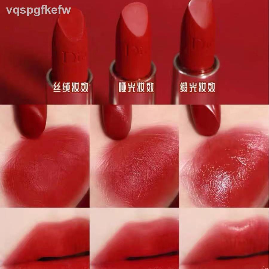 Dior ลิปสติก☁✲[ใหม่] Dior 999 Matte Velvet Lipstick Legendary Red Lip Strong Brilliant Blue Gold