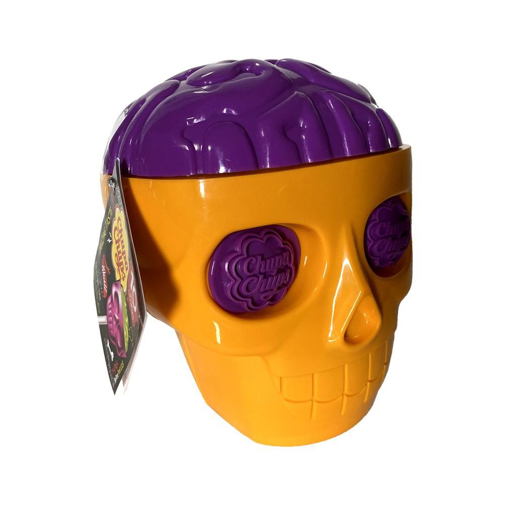 ◕▦☇Chupa Chups Skull ลูกอม อมยิ้ม หัวกะโหลก จูปาจุ๊ปส์ ChupaChups Yellow,Purple Halloween