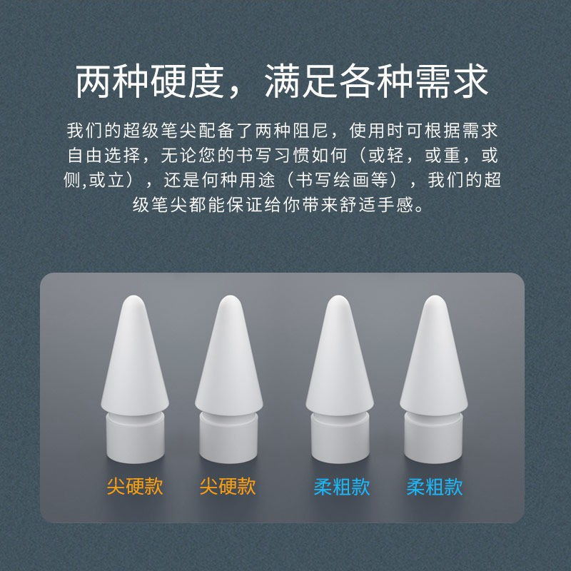 หัวปากกาลดแรงสั่นสะท้านคู่เหมาะสำหรับ Applepencil stylus อุปกรณ์เสริมสำหรับเปลี่ยนหัวปากการุ่นที่ 1 และ 2