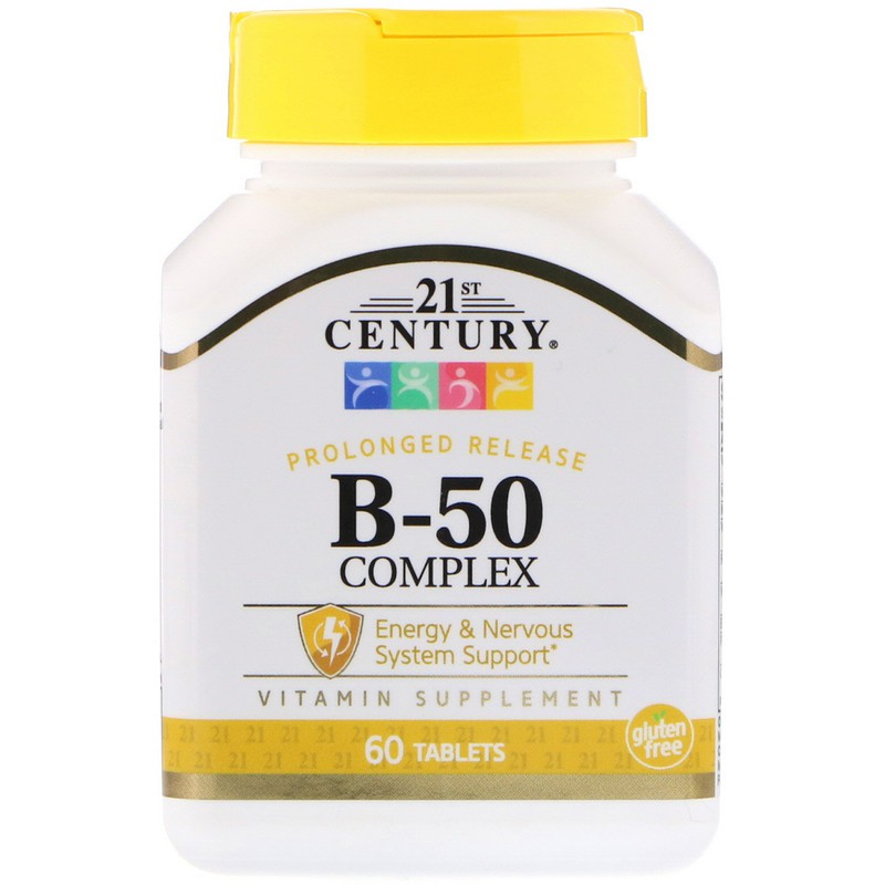 พร้อมส่ง!!! 21st Century, B-50 Complex, Prolonged Release, 60 Tablets