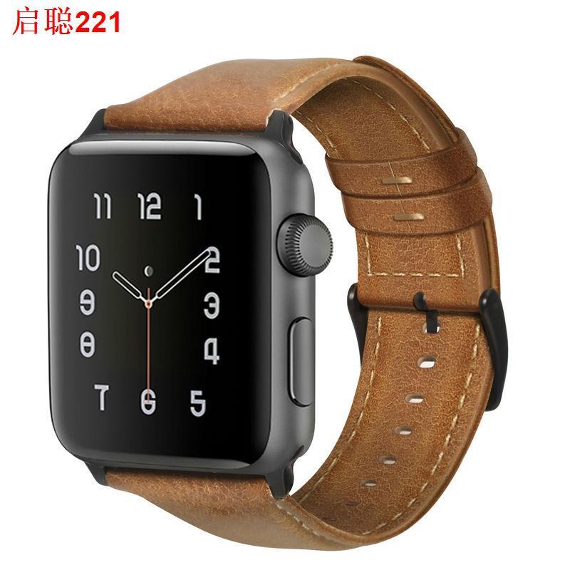>สาย applewatch4 ที่ใช้งานได้, สายหนัง Apple, หนัง cowhide ยอดนิยม Series4 นักธุรกิจหนัง Crazy Horse