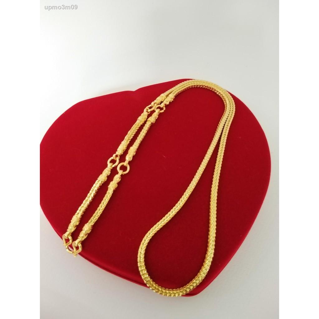 【ลดราคา】✐♤สร้อยคอทองทองแดงลายสี่เสา 5 ห่วงพระขนาด 3 บาทความยาว 26 นิ้วชุบทองเยาวราชชุบทอง 100% งานฝีมือจากช่างเยาวราช