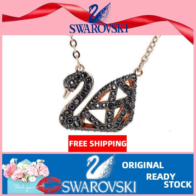 Swarovski สร้อยคอจี้หงส์สีด ําสําหรับผู้หญิง 5281275