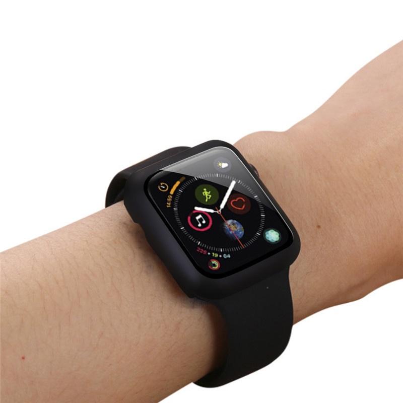 เคส applewatch 44mm / 42mm /40mm / 38mm case apple watch series 5 / 6 /SE / 3 / 4 ด้วยกระจกนิรภัยป้องกันลายนิ้วมือป้องกั