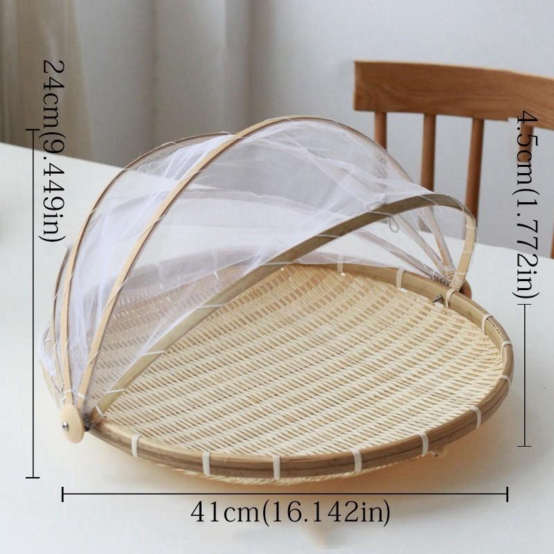 Handmade Bugproof Fruit Trays Bamboo Woven Dustproof Wicker Gauze Covers Baskets
