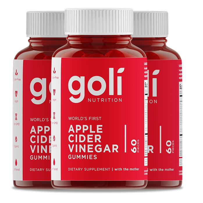 3x Goli Apple Cider Vinegar Gummies (60 Gummies per Box)