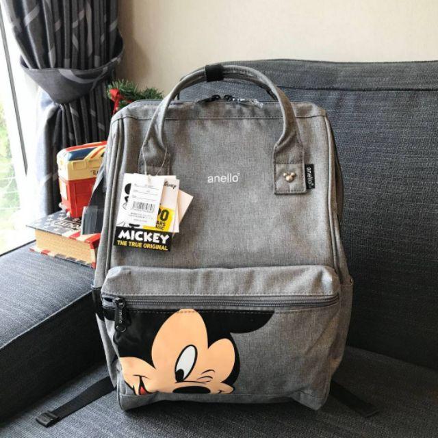 กระเป๋าเป้ Anello แท้💥 Disney มิกกี้ สีเทา สุดน่ารัก เก๋ไก๋ เดินทาง ผู้หญิง เด็ก
