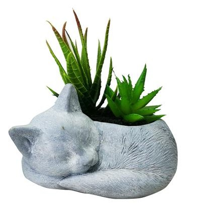 กระถางรูปแมวพร้อมต้นไม้ปลอม SPRING 02_ไม้อวบน้ำในกระถางรูปแมว
